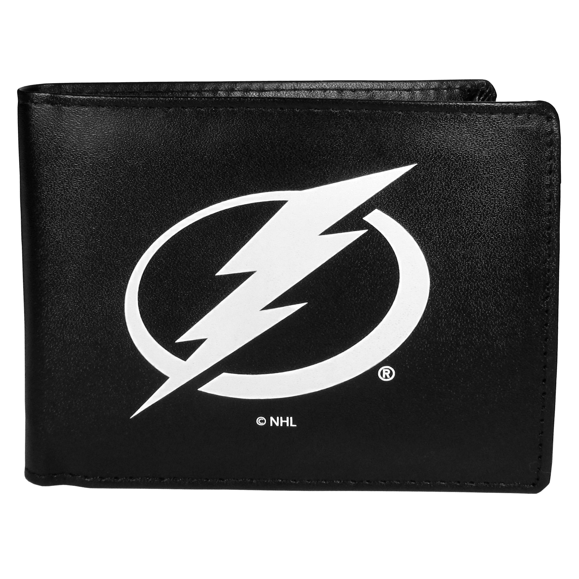 Tampa Bay Lightning® Leather Bi-fold Wallet, Large Logo - Our classic fine leather bi-fold wallet is meticulously crafted with genuine leather that will age beautifully so you will have a quality wallet for years to come. The wallet opens to a large, billfold pocket and numerous credit card slots and has a convenient windowed ID slot. The front of the wallet features an extra large Tampa Bay Lightning® printed logo.
