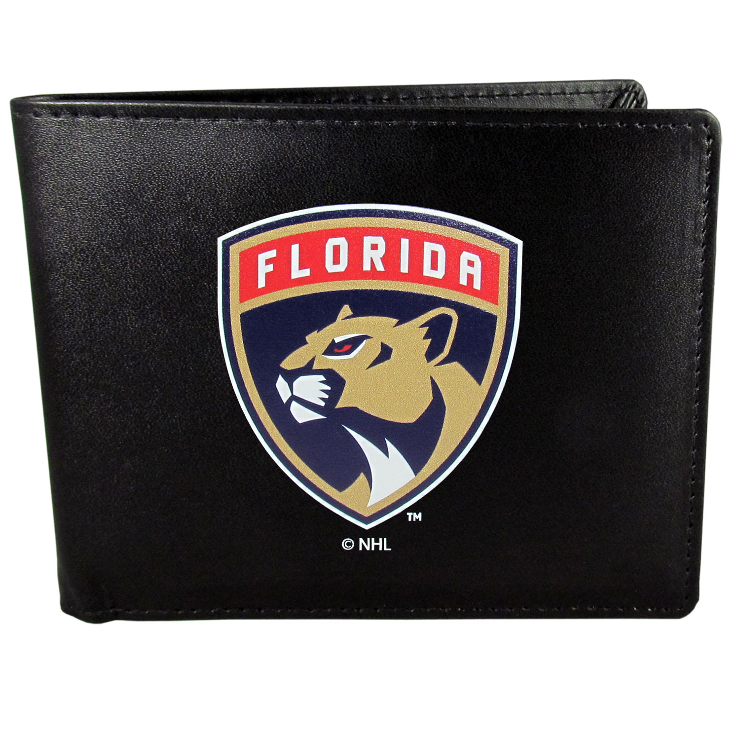 Florida Panthers® Leather Bi-fold Wallet, Large Logo - Our classic fine leather bi-fold wallet is meticulously crafted with genuine leather that will age beautifully so you will have a quality wallet for years to come. The wallet opens to a large, billfold pocket and numerous credit card slots and has a convenient windowed ID slot. The front of the wallet features an extra large Florida Panthers® printed logo.