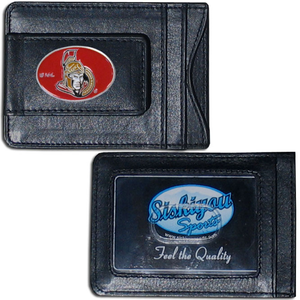 Ottawa Senators® Leather Cash & Cardholder - Our Ottawa Senators® genuine leather cash & cardholder is a great alternative to the traditional bulky wallet. This compact wallet has credit card slots, windowed ID slot and a magnetic money clip that will not damage your credit cards. The wallet features a metal team emblem.