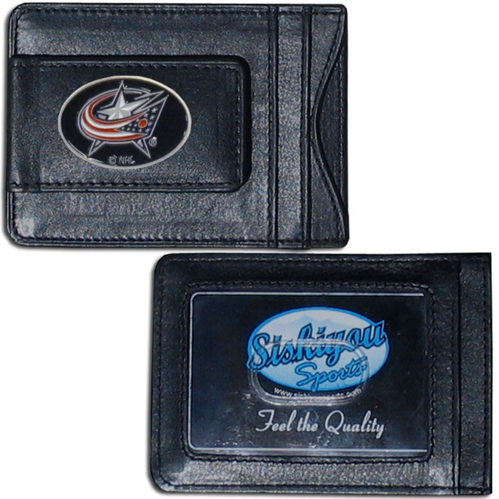 Columbus Blue Jackets® Leather Cash & Cardholder - Our Columbus Blue Jackets® genuine leather cash & cardholder is a great alternative to the traditional bulky wallet. This compact wallet has credit card slots, windowed ID slot and a magnetic money clip that will not damage your credit cards. The wallet features a metal team emblem.