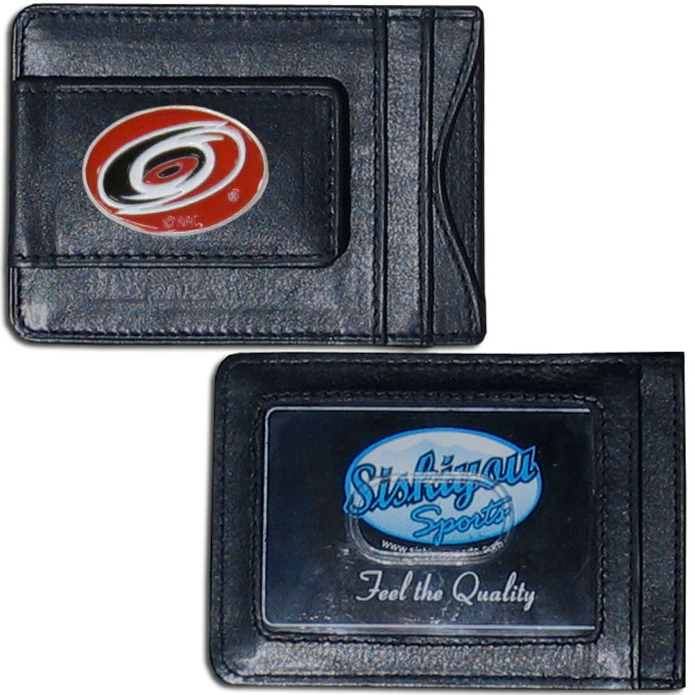 Carolina Hurricanes® Leather Cash and Cardholder - Our Carolina Hurricanes® genuine leather cash & cardholder is a great alternative to the traditional bulky wallet. This compact wallet has credit card slots, windowed ID slot and a magnetic money clip that will not damage your credit cards. The wallet features a metal team emblem.