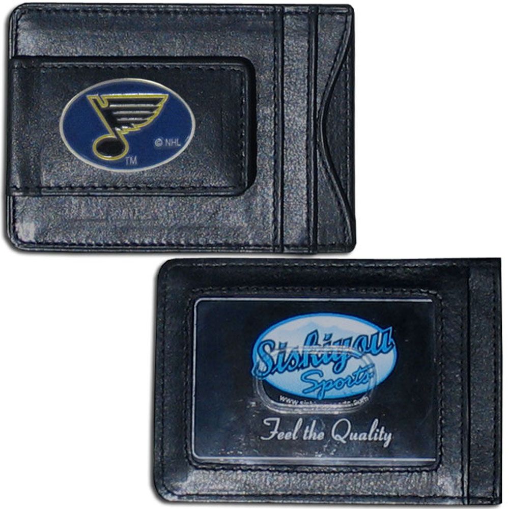 St. Louis Blues® Leather Cash & Cardholder - Our St. Louis Blues® genuine leather cash & cardholder is a great alternative to the traditional bulky wallet. This compact wallet has credit card slots, windowed ID slot and a magnetic money clip that will not damage your credit cards. The wallet features a metal team emblem.