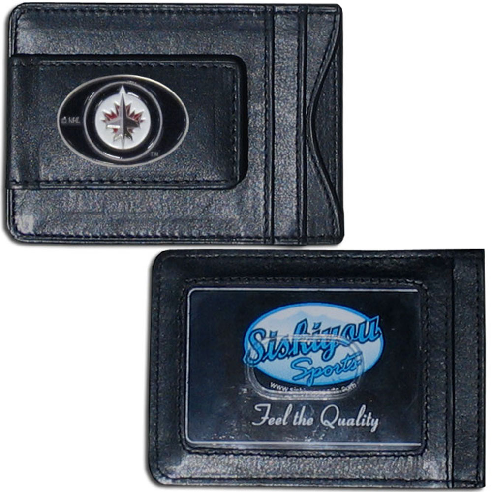 Winnipeg Jets™ Leather Cash and Cardholder - Our Winnipeg Jets™ genuine leather cash & cardholder is a great alternative to the traditional bulky wallet. This compact wallet has credit card slots, windowed ID slot and a magnetic money clip that will not damage your credit cards. The wallet features a metal team emblem.