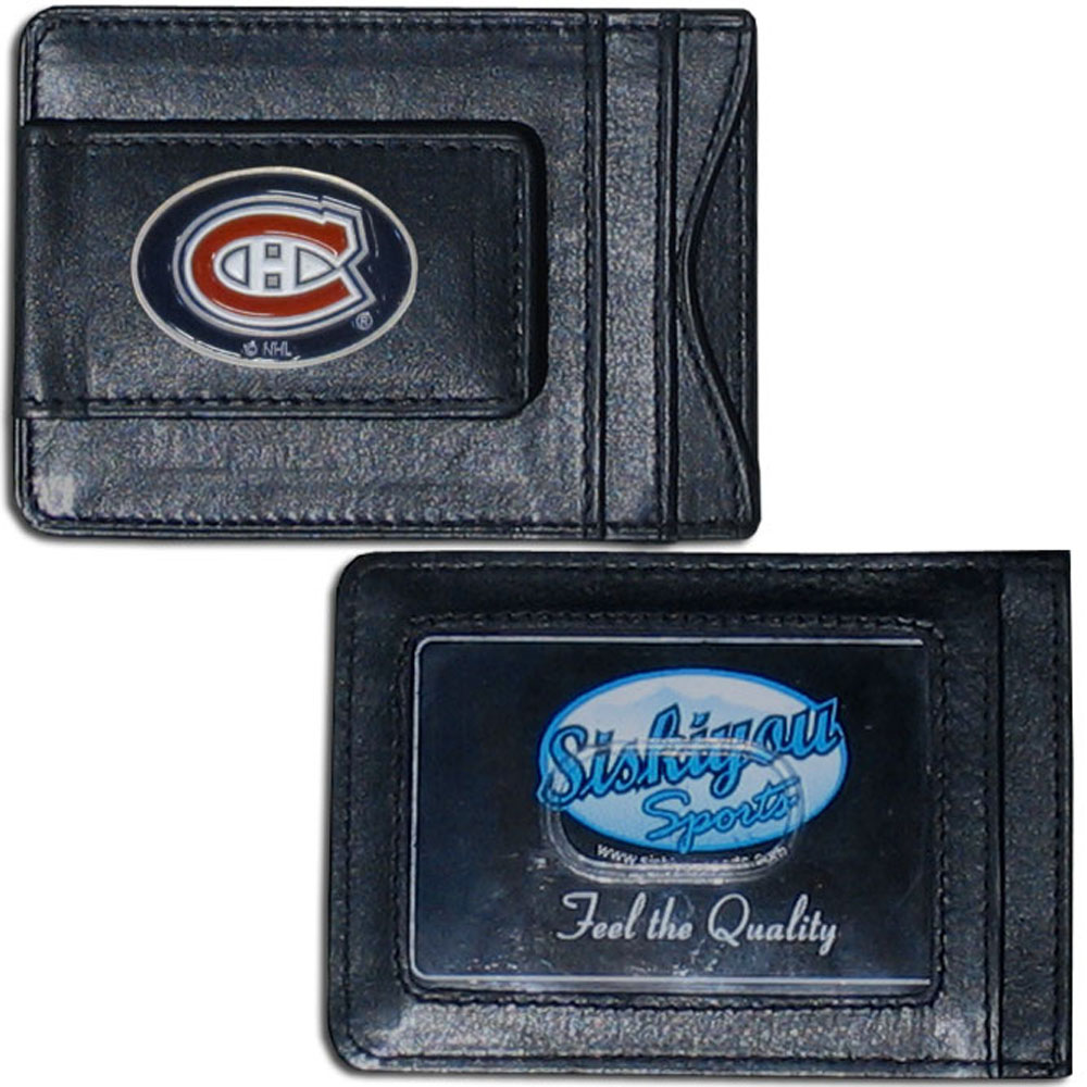 Montreal Canadiens® Leather Cash and Cardholder - Our Montreal Canadiens® genuine leather cash & cardholder is a great alternative to the traditional bulky wallet. This compact wallet has credit card slots, windowed ID slot and a magnetic money clip that will not damage your credit cards. The wallet features a metal team emblem.