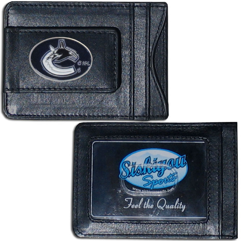 Vancouver Canucks® Leather Cash and Cardholder - Our Vancouver Canucks® genuine leather cash & cardholder is a great alternative to the traditional bulky wallet. This compact wallet has credit card slots, windowed ID slot and a magnetic money clip that will not damage your credit cards. The wallet features a metal team emblem.