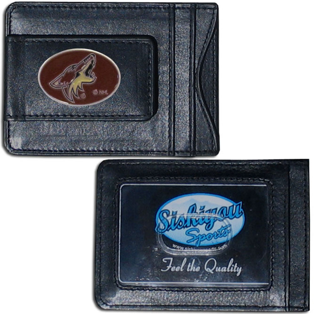 Arizona Coyotes® Leather Cash & Cardholder - Our Arizona Coyotes® genuine leather cash & cardholder is a great alternative to the traditional bulky wallet. This compact wallet has credit card slots, windowed ID slot and a magnetic money clip that will not damage your credit cards. The wallet features a metal team emblem.