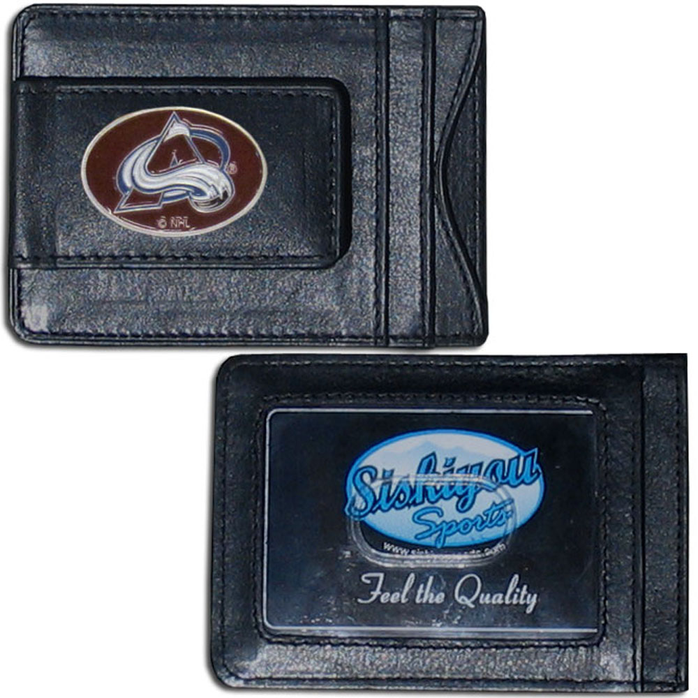Colorado Avalanche® Leather Cash & Cardholder - Our Colorado Avalanche® genuine leather cash & cardholder is a great alternative to the traditional bulky wallet. This compact wallet has credit card slots, windowed ID slot and a magnetic money clip that will not damage your credit cards. The wallet features a metal team emblem.