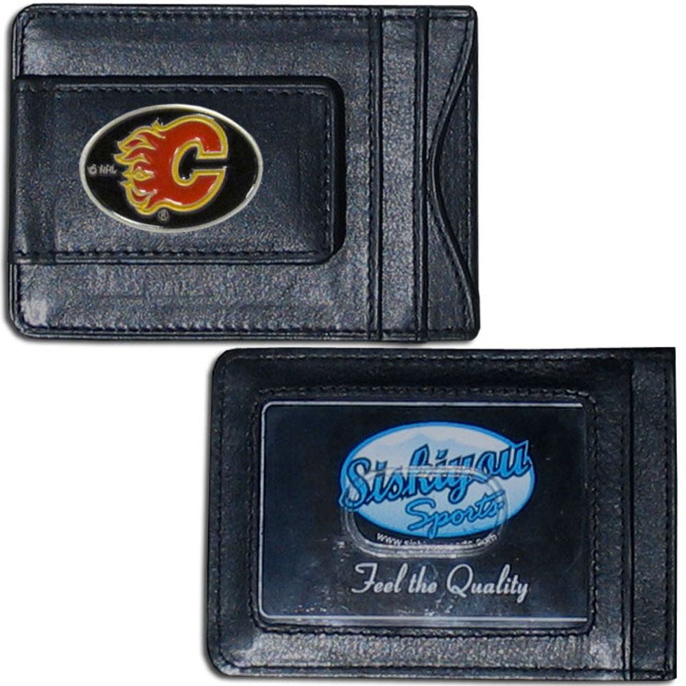 Calgary Flames® Leather Cash & Cardholder - Our Calgary Flames® genuine leather cash & cardholder is a great alternative to the traditional bulky wallet. This compact wallet has credit card slots, windowed ID slot and a magnetic money clip that will not damage your credit cards. The wallet features a metal team emblem.
