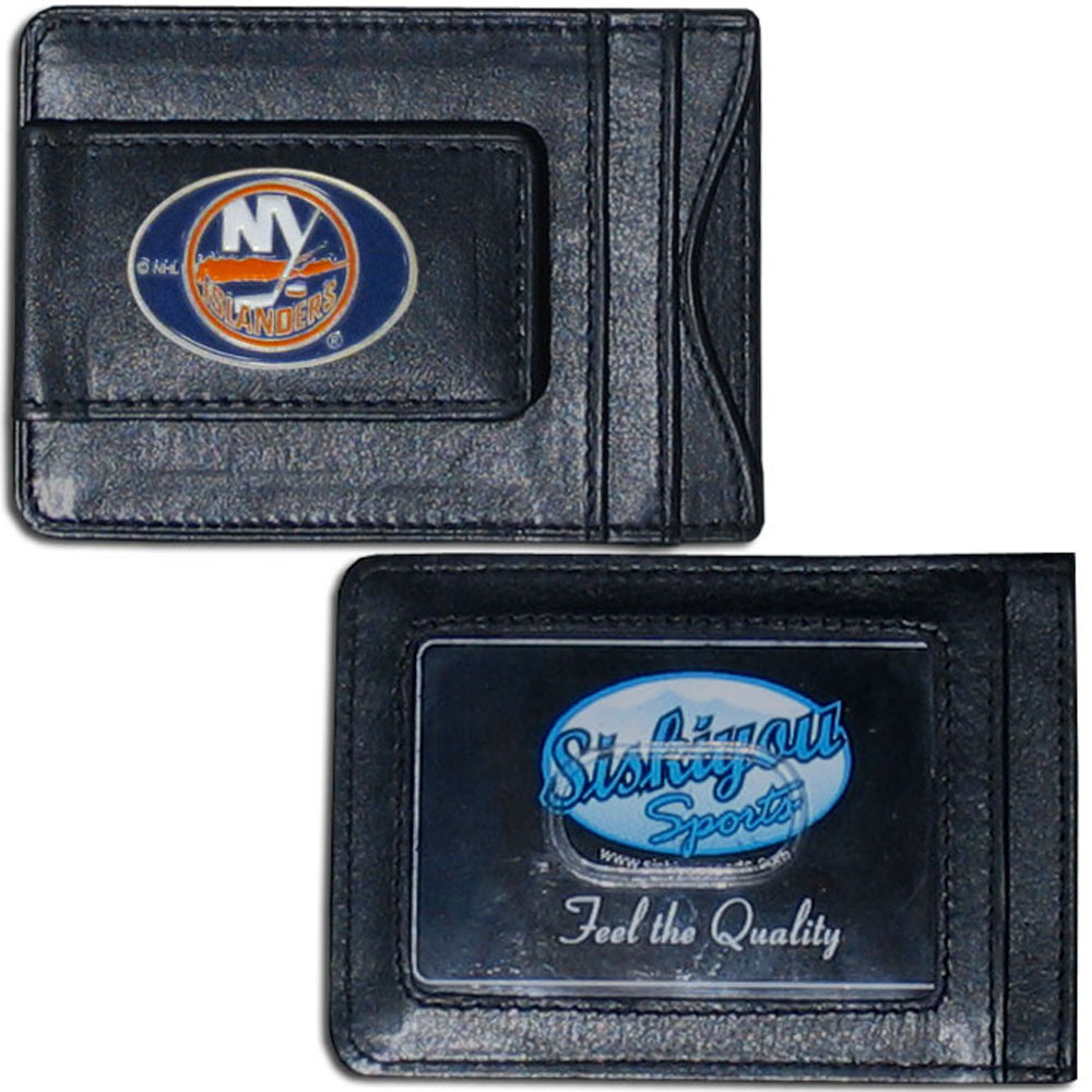 New York Islanders® Leather Cash and Cardholder - Our New York Islanders® genuine leather cash & cardholder is a great alternative to the traditional bulky wallet. This compact wallet has credit card slots, windowed ID slot and a magnetic money clip that will not damage your credit cards. The wallet features a metal team emblem.
