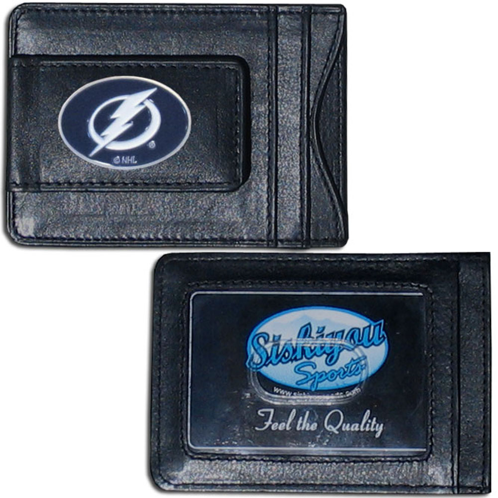 Tampa Bay Lightning® Leather Cash & Cardholder - Our Tampa Bay Lightning® genuine leather cash & cardholder is a great alternative to the traditional bulky wallet. This compact wallet has credit card slots, windowed ID slot and a magnetic money clip that will not damage your credit cards. The wallet features a metal team emblem.