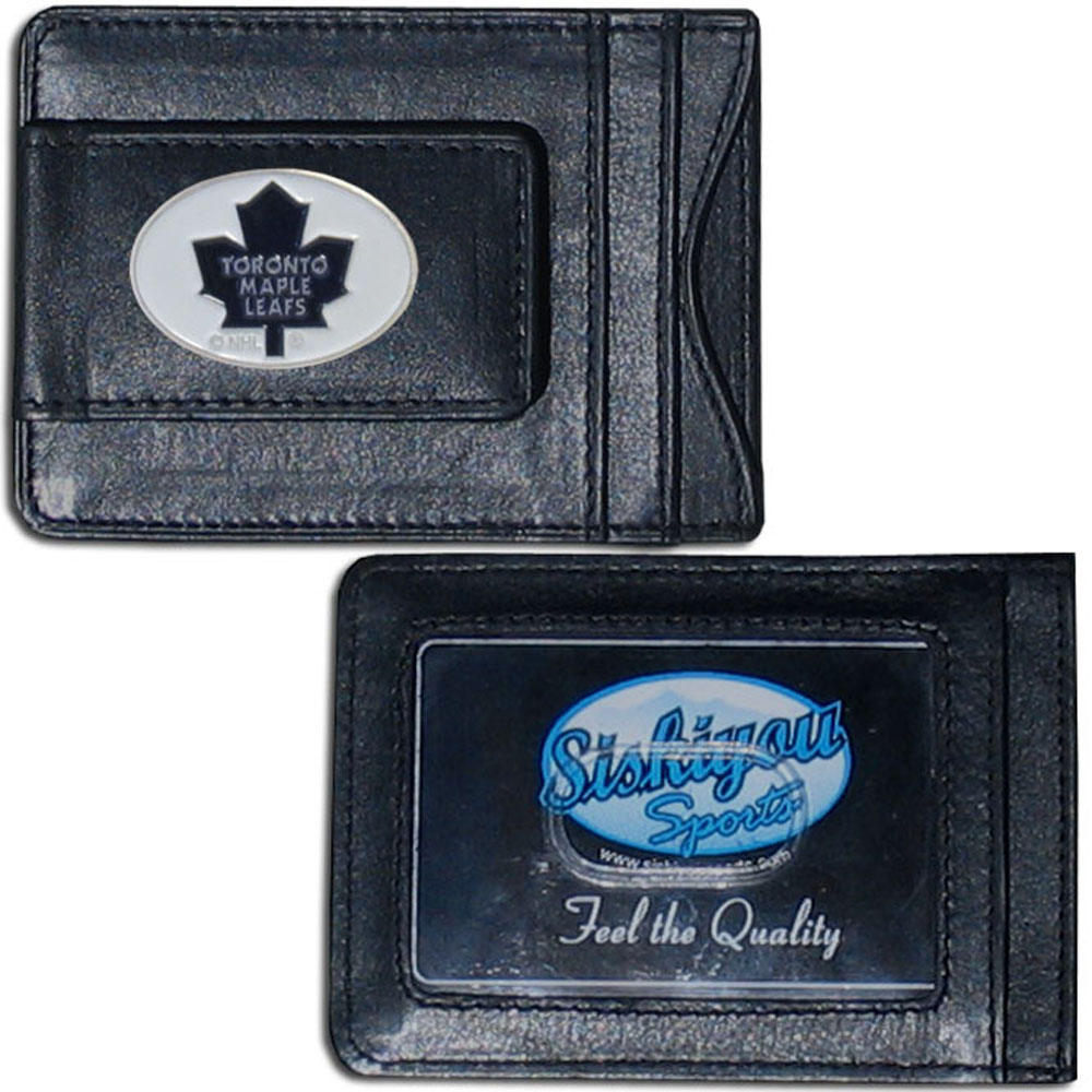 Toronto Maple Leafs® Leather Cash and Cardholder - Our Toronto Maple Leafs® genuine leather cash & cardholder is a great alternative to the traditional bulky wallet. This compact wallet has credit card slots, windowed ID slot and a magnetic money clip that will not damage your credit cards. The wallet features a metal team emblem.
