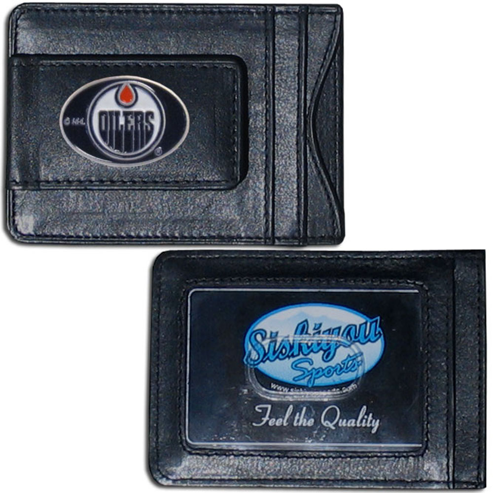 Edmonton Oilers® Leather Cash & Cardholder - Our Edmonton Oilers® genuine leather cash & cardholder is a great alternative to the traditional bulky wallet. This compact wallet has credit card slots, windowed ID slot and a magnetic money clip that will not damage your credit cards. The wallet features a metal team emblem.