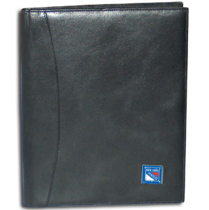 "NHL Leather Portfolio -  New York Rangers - This NHL genuine leather portfolio fits an 8 1/2"" x 11"" writing pad and includes slots for your credit cards, a spacious pocket and a pen holder. The front features a hand painted metal square with the primary team logo. Thank you for visiting CrazedOutSports"