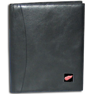 "NHL Leather Portfolio - Detroit Red Wings - This NHL genuine leather portfolio fits an 8 1/2"" x 11"" writing pad and includes slots for your credit cards, a spacious pocket and a pen holder. The front features a hand painted metal square with the primary team logo. Thank you for visiting CrazedOutSports"