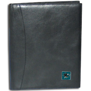 "NHL Leather Portfolio - San Jose Sharks - This NHL genuine leather portfolio fits an 8 1/2"" x 11"" writing pad and includes slots for your credit cards, a spacious pocket and a pen holder. The front features a hand painted metal square with the primary team logo."
