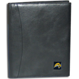"NHL Leather Portfolio -  Buffalo Sabres - This NHL genuine leather portfolio fits an 8 1/2"" x 11"" writing pad and includes slots for your credit cards, a spacious pocket and a pen holder. The front features a hand painted metal square with the primary team logo."