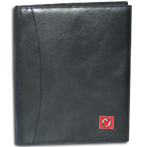 "NHL Leather Portfolio -  New Jersey Devils - This NHL genuine leather portfolio fits an 8 1/2"" x 11"" writing pad and includes slots for your credit cards, a spacious pocket and a pen holder. The front features a hand painted metal square with the primary team logo."