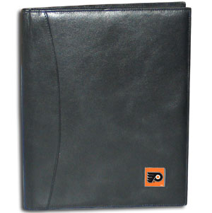"NHL Leather Portfolio -  Philadelphia Flyers - This NHL genuine leather portfolio fits an 8 1/2"" x 11"" writing pad and includes slots for your credit cards, a spacious pocket and a pen holder. The front features a hand painted metal square with the primary team logo. Thank you for visiting CrazedOutSports"