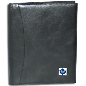 "NHL Leather Portfolio -  Toronto Maple Leafs - This NHL genuine leather portfolio fits an 8 1/2"" x 11"" writing pad and includes slots for your credit cards, a spacious pocket and a pen holder. The front features a hand painted metal square with the primary team logo."