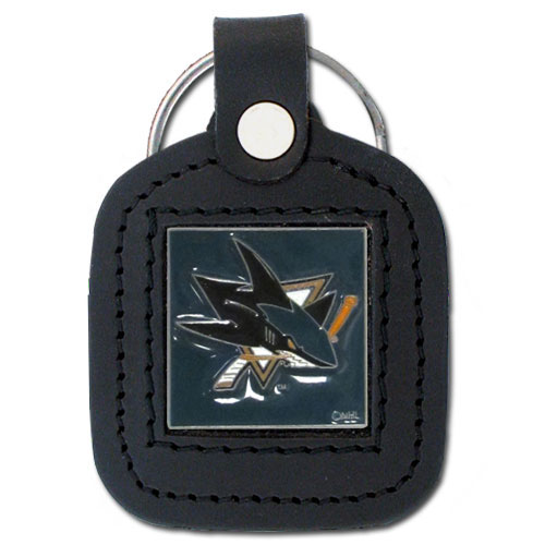 NHL Sq. Leather Key Ring - San Jose Sharks - This square NHL San Jose Sharks key ring features fine leather surrounding a sculpted and enameled San Jose Sharks logo. Check out our entire line of San Jose Sharks sports merchandise!