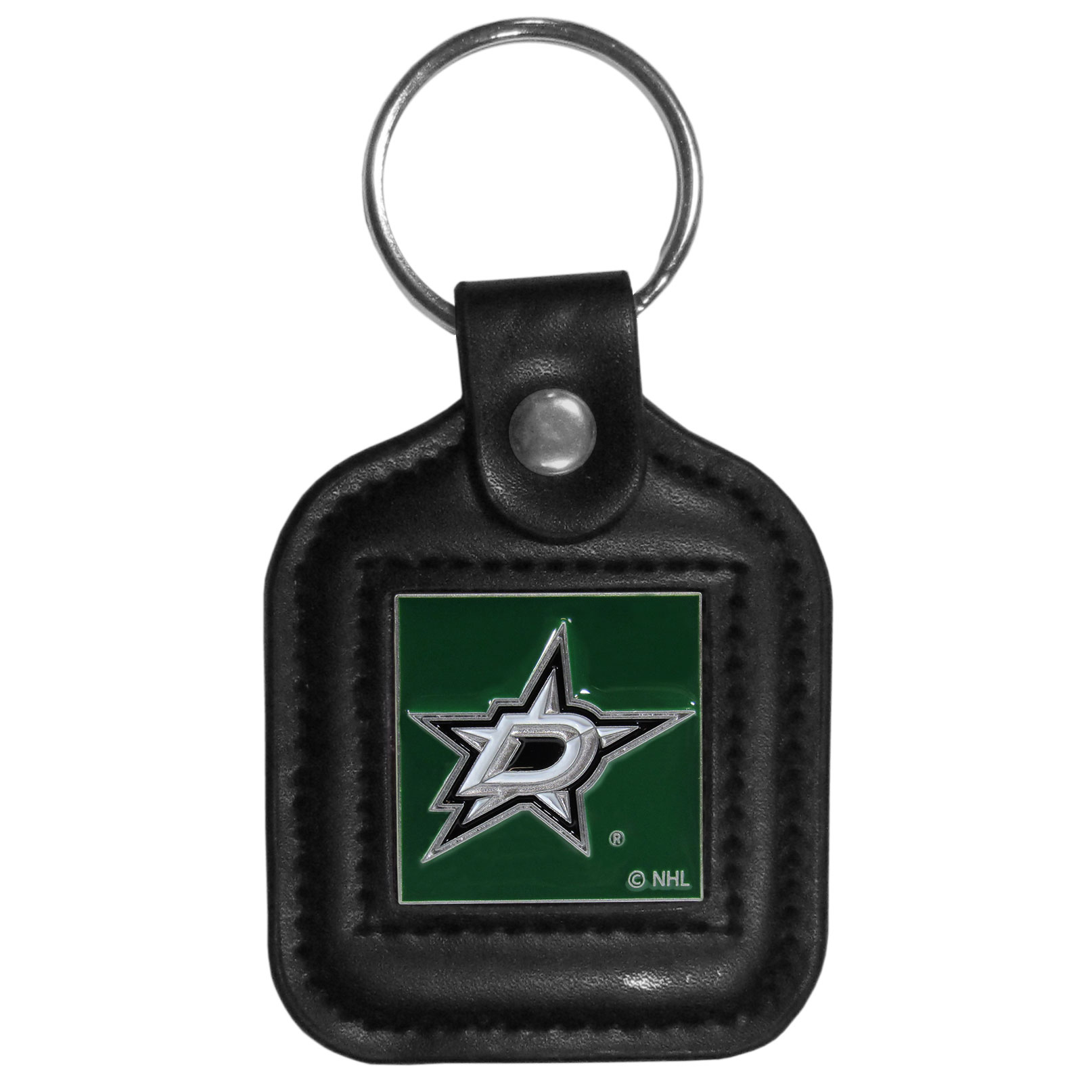 Dallas Stars™ Square Leatherette Key Chain - Our Dallas Stars™ black key fob with stitched detail and inlaid, metal team emblem with enameled color details.