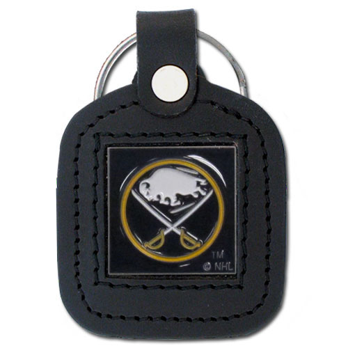 NHL Sq. Leather Key Ring - Buffalo Sabres - This square NHL Buffalo Sabres key ring features fine leather surrounding a sculpted and enameled Buffalo Sabres logo. Check out our entire line of Buffalo Sabres sports merchandise!
