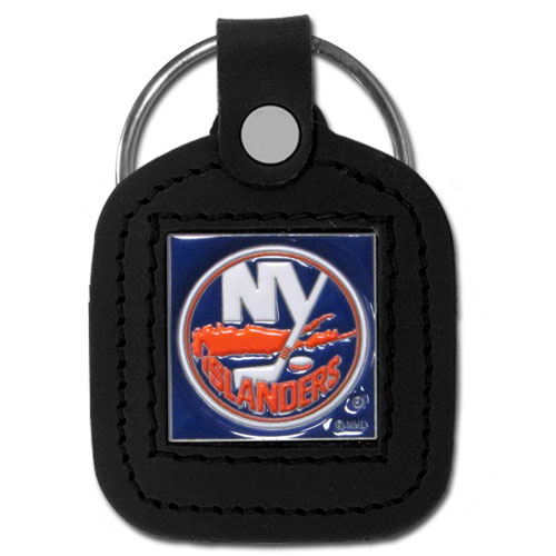 Islanders Leather Key Chain - Our officially licensed NHL square leather key chain is made of fine grain leather and features a fully cast and enameled Islanders emblem.