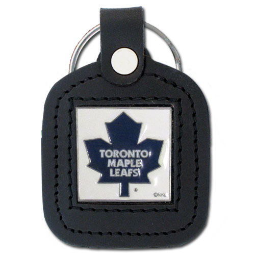 NHL Sq. Leather Key Ring - Toronto Maple Leafs - This square NHL Toronto Maple Leafs key ring features fine leather surrounding a sculpted and enameled Toronto Maple Leafs logo. Check out our entire line of Toronto Maple Leafs sports merchandise!