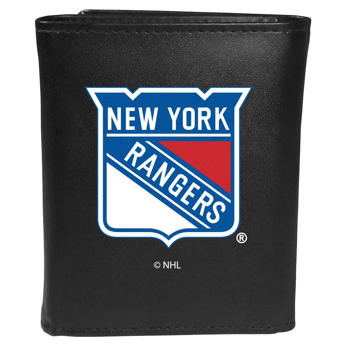 New York Rangers® Leather Tri-fold Wallet, Large Logo - Our classic fine leather tri-fold wallet is meticulously crafted with genuine leather that will age beautifully so you will have a quality wallet for years to come. This is fan apparel at its finest. The wallet is packed with organizational  features; lots of credit card slots, large billfold pocket, and a window ID slot. The front of the wallet features an extra large New York Rangers® printed logo.