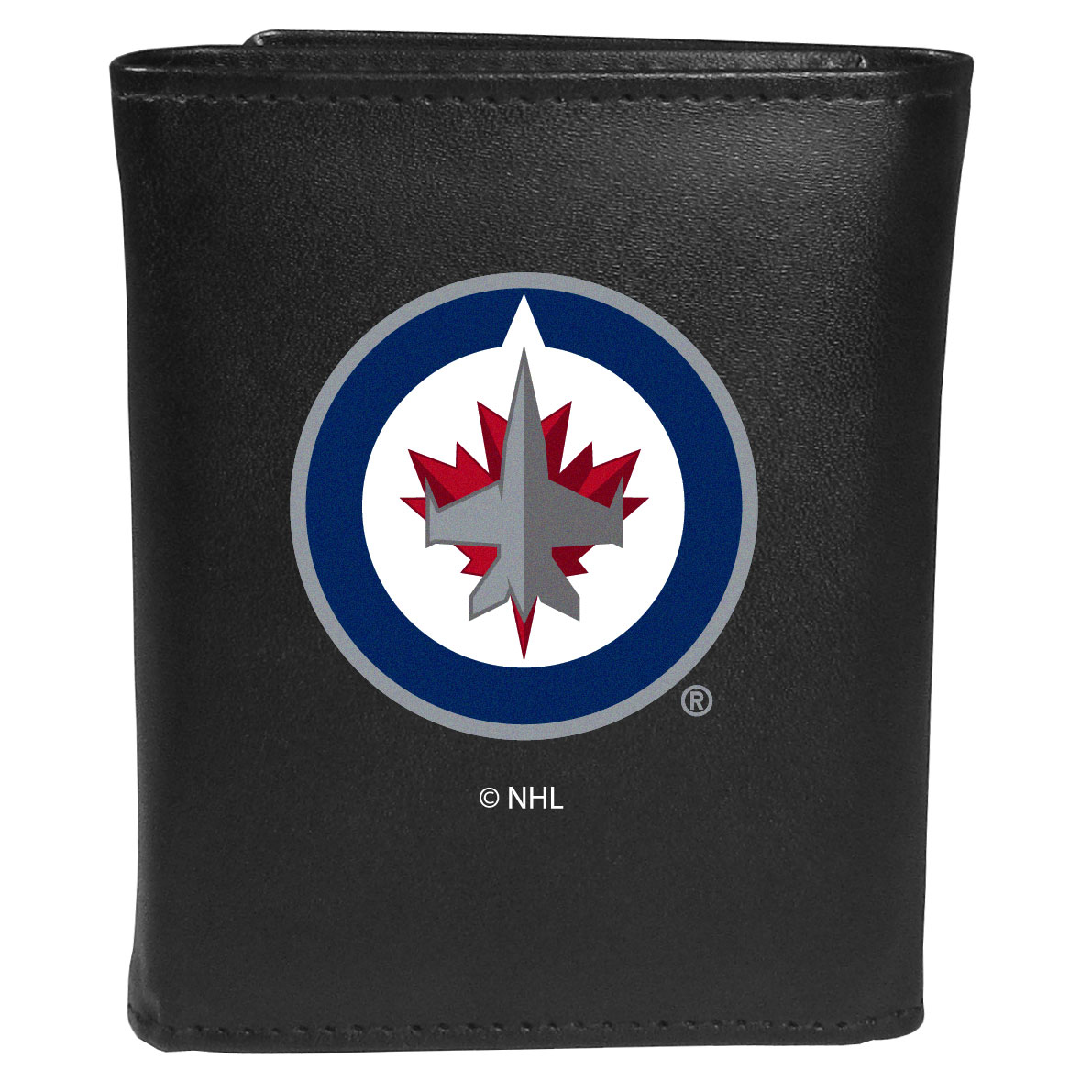 Winnipeg Jets™ Leather Tri-fold Wallet, Large Logo - Our classic fine leather tri-fold wallet is meticulously crafted with genuine leather that will age beautifully so you will have a quality wallet for years to come. This is fan apparel at its finest. The wallet is packed with organizational  features; lots of credit card slots, large billfold pocket, and a window ID slot. The front of the wallet features an extra large Winnipeg Jets™ printed logo.