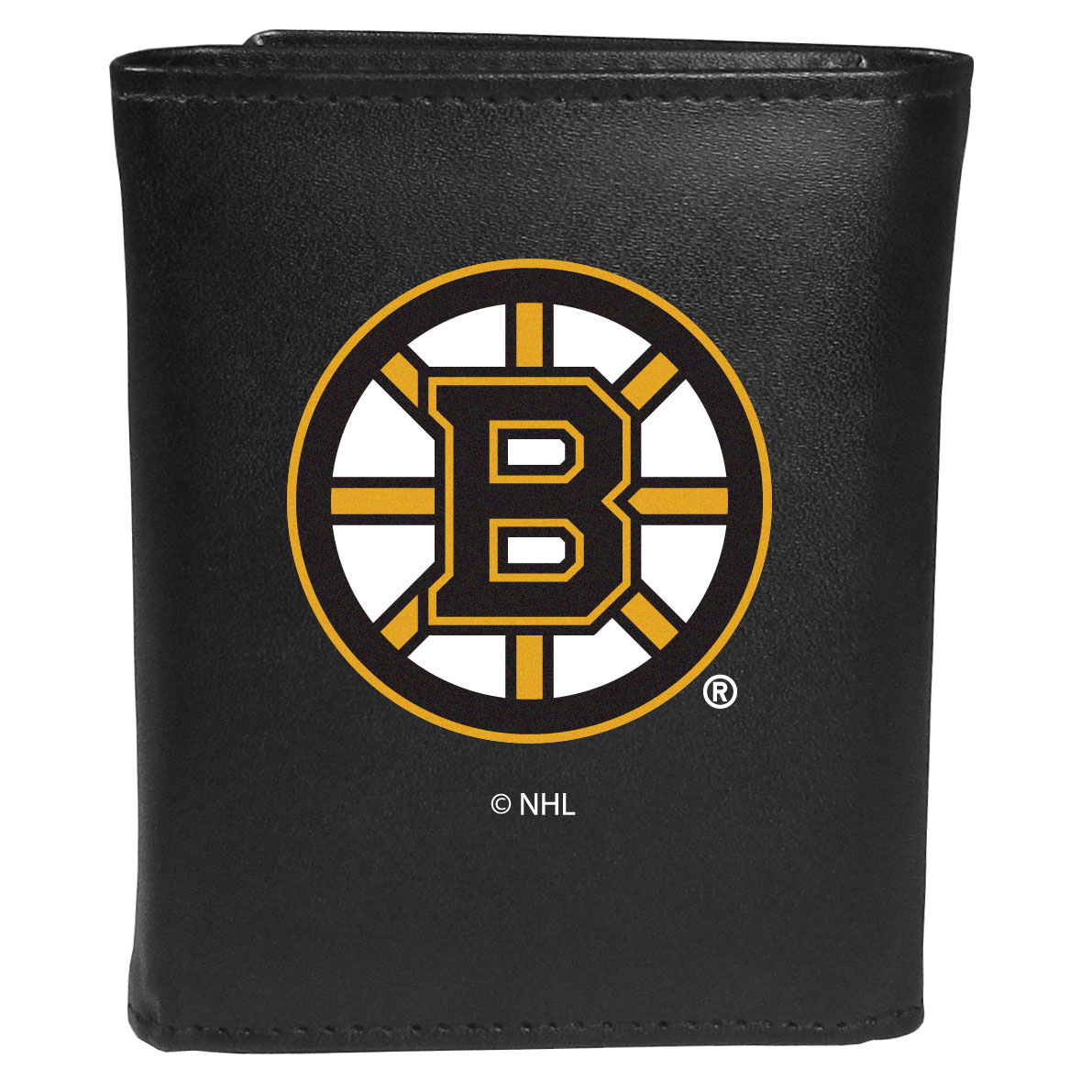 Boston Bruins® Leather Tri-fold Wallet, Large Logo - Our classic fine leather tri-fold wallet is meticulously crafted with genuine leather that will age beautifully so you will have a quality wallet for years to come. This is fan apparel at its finest. The wallet is packed with organizational  features; lots of credit card slots, large billfold pocket, and a window ID slot. The front of the wallet features an extra large Boston Bruins® printed logo.