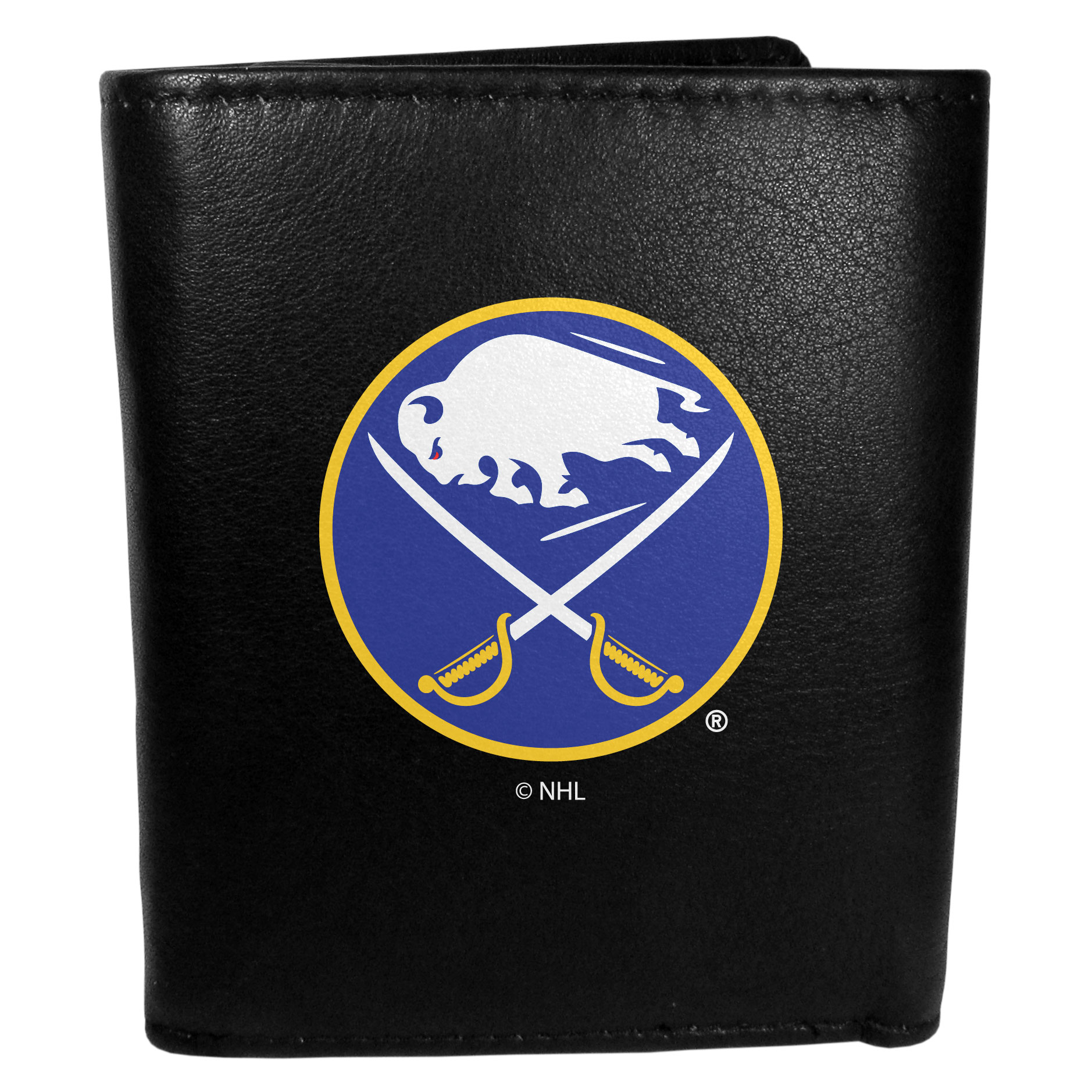 Buffalo Sabres® Leather Tri-fold Wallet, Large Logo - Our classic fine leather tri-fold wallet is meticulously crafted with genuine leather that will age beautifully so you will have a quality wallet for years to come. This is fan apparel at its finest. The wallet is packed with organizational  features; lots of credit card slots, large billfold pocket, and a window ID slot. The front of the wallet features an extra large Buffalo Sabres® printed logo.