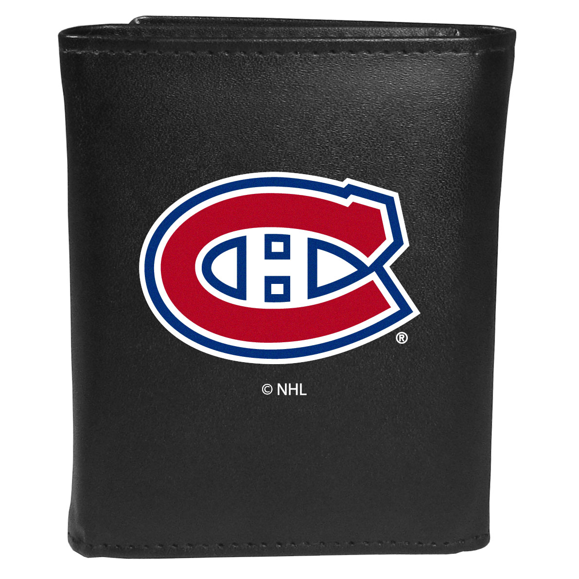 Montreal Canadiens® Leather Tri-fold Wallet, Large Logo - Our classic fine leather tri-fold wallet is meticulously crafted with genuine leather that will age beautifully so you will have a quality wallet for years to come. This is fan apparel at its finest. The wallet is packed with organizational  features; lots of credit card slots, large billfold pocket, and a window ID slot. The front of the wallet features an extra large Montreal Canadiens® printed logo.