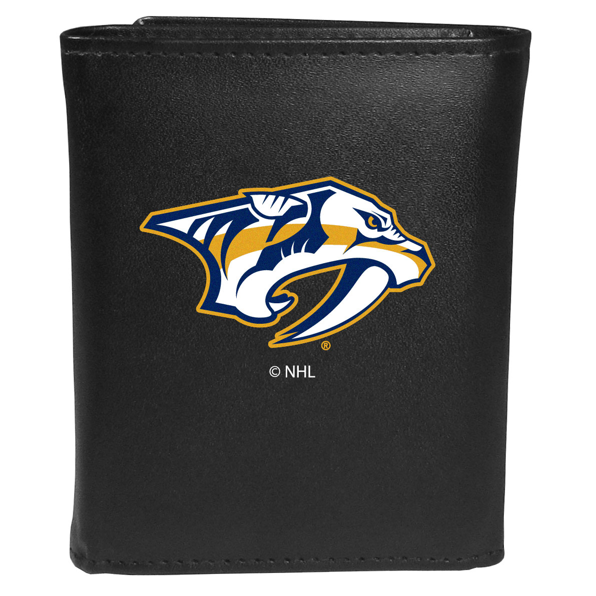 Nashville Predators® Leather Tri-fold Wallet, Large Logo - Our classic fine leather tri-fold wallet is meticulously crafted with genuine leather that will age beautifully so you will have a quality wallet for years to come. This is fan apparel at its finest. The wallet is packed with organizational  features; lots of credit card slots, large billfold pocket, and a window ID slot. The front of the wallet features an extra large Nashville Predators® printed logo.