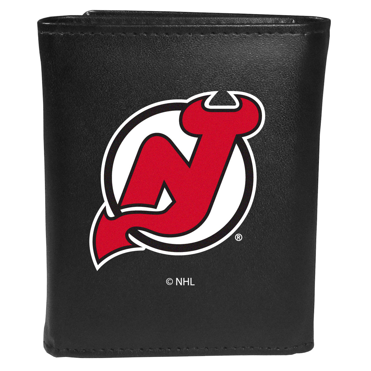 New Jersey Devils® Leather Tri-fold Wallet, Large Logo - Our classic fine leather tri-fold wallet is meticulously crafted with genuine leather that will age beautifully so you will have a quality wallet for years to come. This is fan apparel at its finest. The wallet is packed with organizational  features; lots of credit card slots, large billfold pocket, and a window ID slot. The front of the wallet features an extra large New Jersey Devils® printed logo.