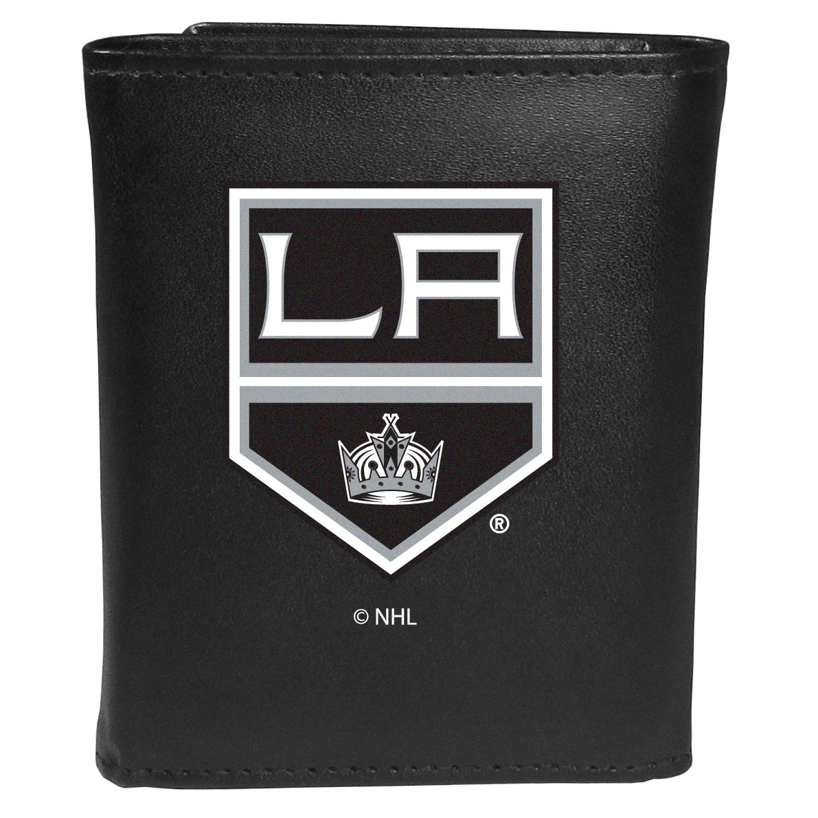 Los Angeles Kings® Leather Tri-fold Wallet, Large Logo - Our classic fine leather tri-fold wallet is meticulously crafted with genuine leather that will age beautifully so you will have a quality wallet for years to come. This is fan apparel at its finest. The wallet is packed with organizational  features; lots of credit card slots, large billfold pocket, and a window ID slot. The front of the wallet features an extra large Los Angeles Kings® printed logo.