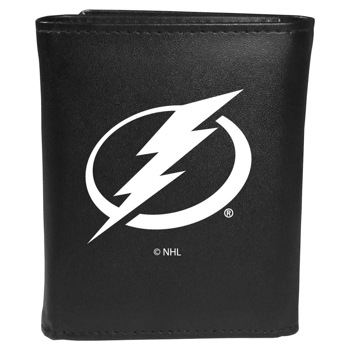 Tampa Bay Lightning® Leather Tri-fold Wallet, Large Logo - Our classic fine leather tri-fold wallet is meticulously crafted with genuine leather that will age beautifully so you will have a quality wallet for years to come. This is fan apparel at its finest. The wallet is packed with organizational  features; lots of credit card slots, large billfold pocket, and a window ID slot. The front of the wallet features an extra large Tampa Bay Lightning® printed logo.
