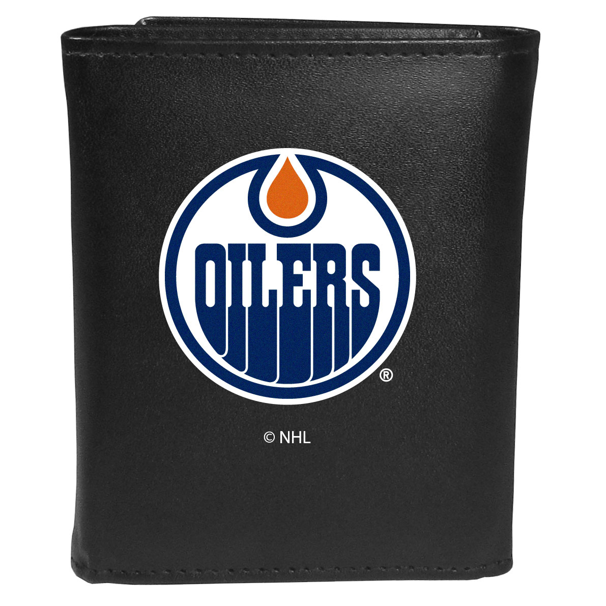 Edmonton Oilers® Leather Tri-fold Wallet, Large Logo - Our classic fine leather tri-fold wallet is meticulously crafted with genuine leather that will age beautifully so you will have a quality wallet for years to come. This is fan apparel at its finest. The wallet is packed with organizational  features; lots of credit card slots, large billfold pocket, and a window ID slot. The front of the wallet features an extra large Edmonton Oilers® printed logo.