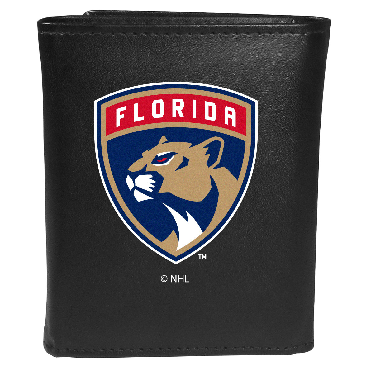 Florida Panthers® Leather Tri-fold Wallet, Large Logo - Our classic fine leather tri-fold wallet is meticulously crafted with genuine leather that will age beautifully so you will have a quality wallet for years to come. This is fan apparel at its finest. The wallet is packed with organizational  features; lots of credit card slots, large billfold pocket, and a window ID slot. The front of the wallet features an extra large Florida Panthers® printed logo.