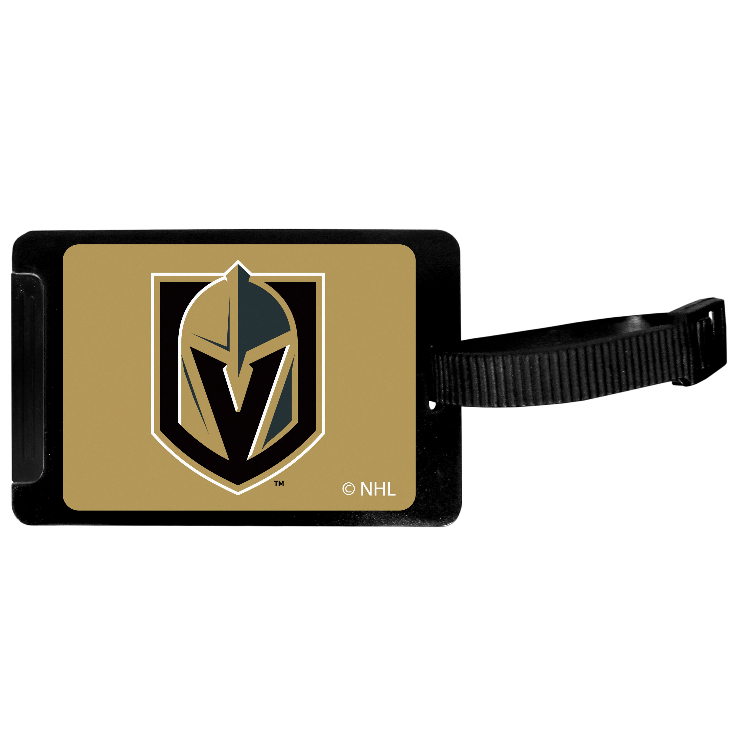 Vegas Golden Knights Luggage Tag - Everyone has had that moment at the airport of trying to find your suitcase among the sea of luggage. This quality luggage tag takes the frustration out of that process by providing an easy to spot tag that is attractive and shows off your team pride. The hard plastic tag has a slide-out address tab and bright digitally printed Vegas Golden Knights logo. This is the perfect travel accessory for the die-hard fan!