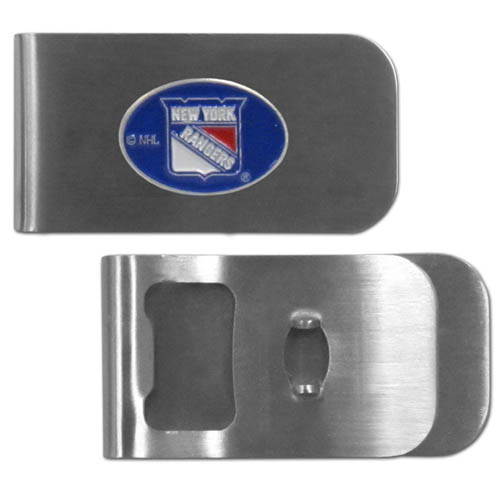 New York Rangers Bottle Opener Money Clip - These unique New York Rangers Bottle Opener Money Clip is made of heavy duty steel and has a functional bottle opener on the back. The New York Rangers Bottle Opener Money Clip features a New York Rangers emblem with enameled New York Rangers colors. This New York Rangers Bottle Opener Money Clip makes a great gift! Thank you for visiting CrazedOutSports