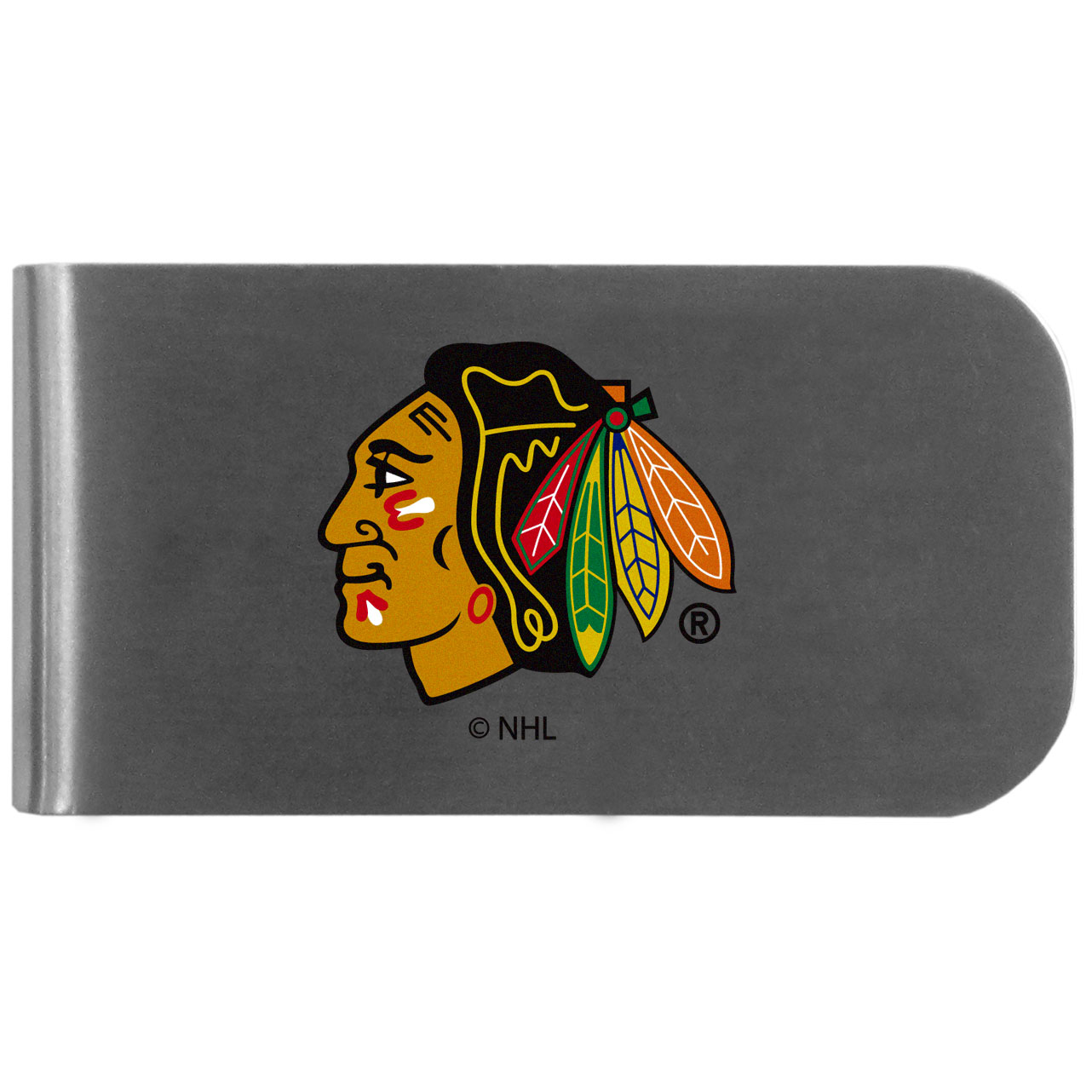 Chicago Blackhawks Logo Bottle Opener Money Clip - This unique money clip features a classic, brushed-metal finish with a handy bottle opener feature on the back. The clip has the Chicago Blackhawks logo expertly printed on the front of the clip.