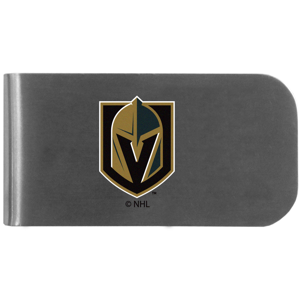 Vegas Golden Knights Logo Bottle Opener Money Clip - This unique money clip features a classic, brushed-metal finish with a handy bottle opener feature on the back. The clip has the Vegas Golden Knights logo expertly printed on the front of the clip.