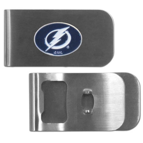 Tampa Bay Lightning Bottle Opener Money Clip - These unique Tampa Bay Lightning is made of heavy duty steel and has a functional bottle opener on the back. The Tampa Bay Lightning features a Tampa Bay Lightning emblem with enameled Tampa Bay Lightning colors. Best Tampa Bay Lightning Bottle Opener Money Clip that makes a great gift! Thank you for visiting CrazedOutSports