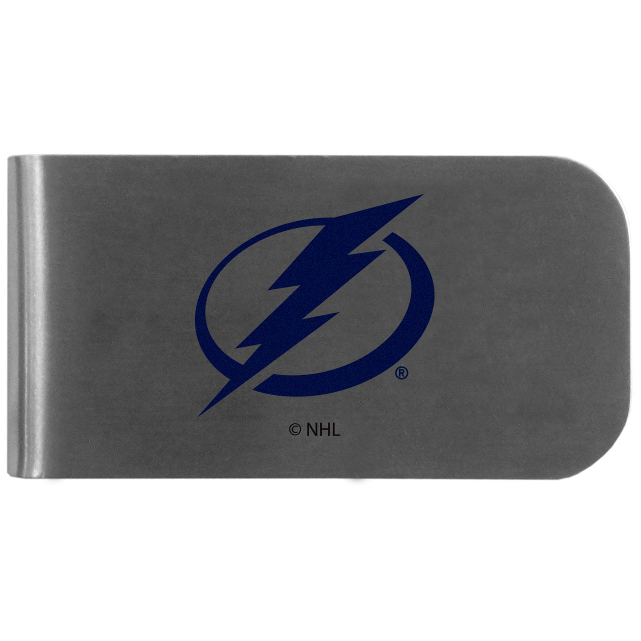 Tampa Bay Lightning Logo Bottle Opener Money Clip - This unique money clip features a classic, brushed-metal finish with a handy bottle opener feature on the back. The clip has the Tampa Bay Lightning logo expertly printed on the front of the clip.