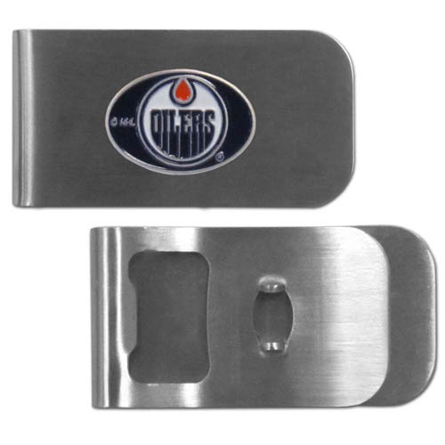Edmonton Oilers Bottle Opener Money Clip - These unique Edmonton Oilers Bottle Opener Money Clip is made of heavy duty steel and has a functional bottle opener on the back. The Edmonton Oilers Bottle Opener Money Clip features a Edmonton Oilers emblem with enameled Edmonton Oilers colors. This Edmonton Oilers Bottle Opener Money Clip makes a great gift!