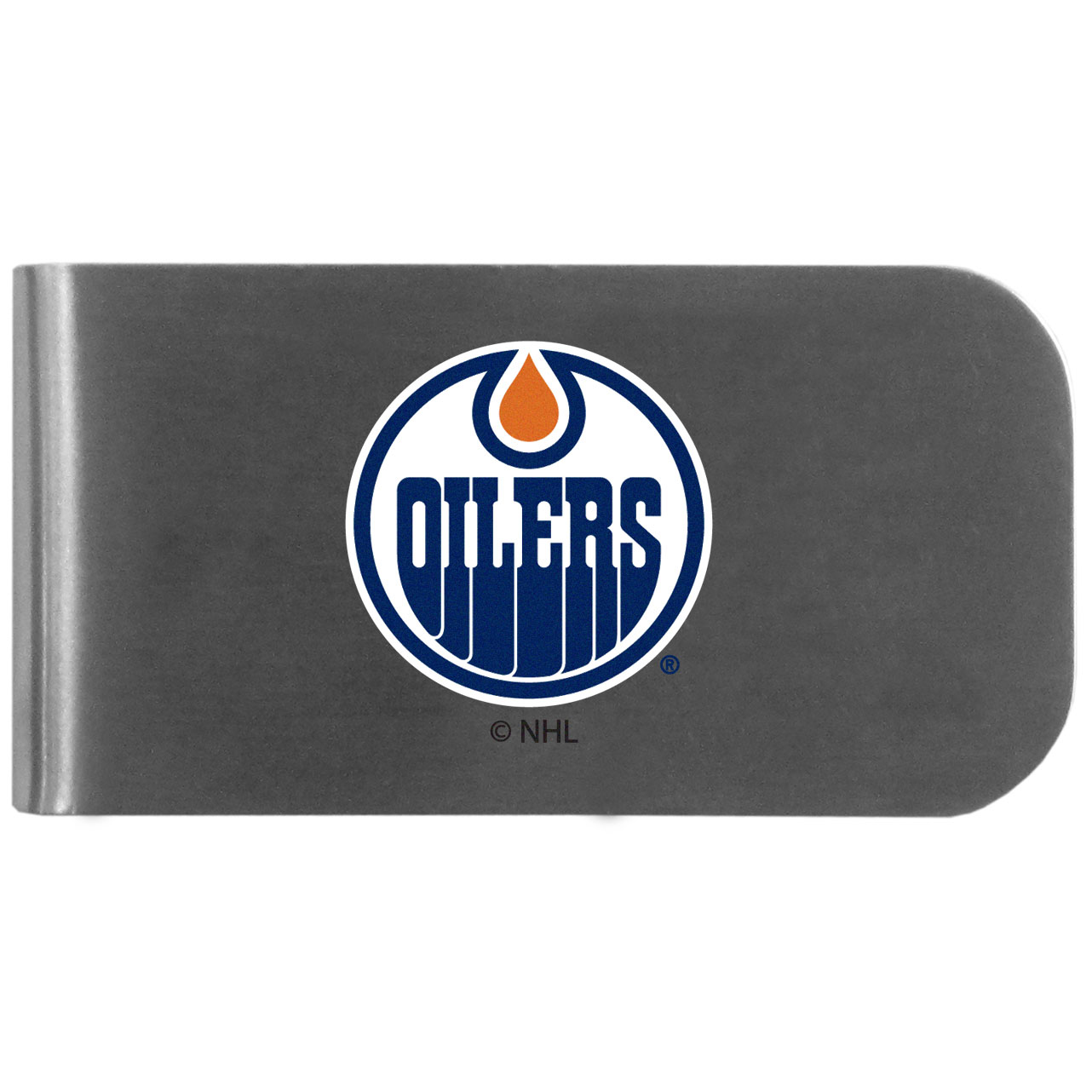 Edmonton Oilers Logo Bottle Opener Money Clip - This unique money clip features a classic, brushed-metal finish with a handy bottle opener feature on the back. The clip has the Edmonton Oilers logo expertly printed on the front of the clip.