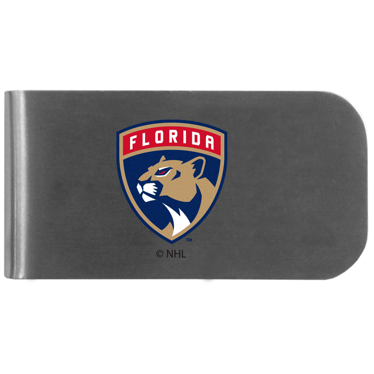 Florida Panthers Logo Bottle Opener Money Clip - This unique money clip features a classic, brushed-metal finish with a handy bottle opener feature on the back. The clip has the Florida Panthers logo expertly printed on the front of the clip.