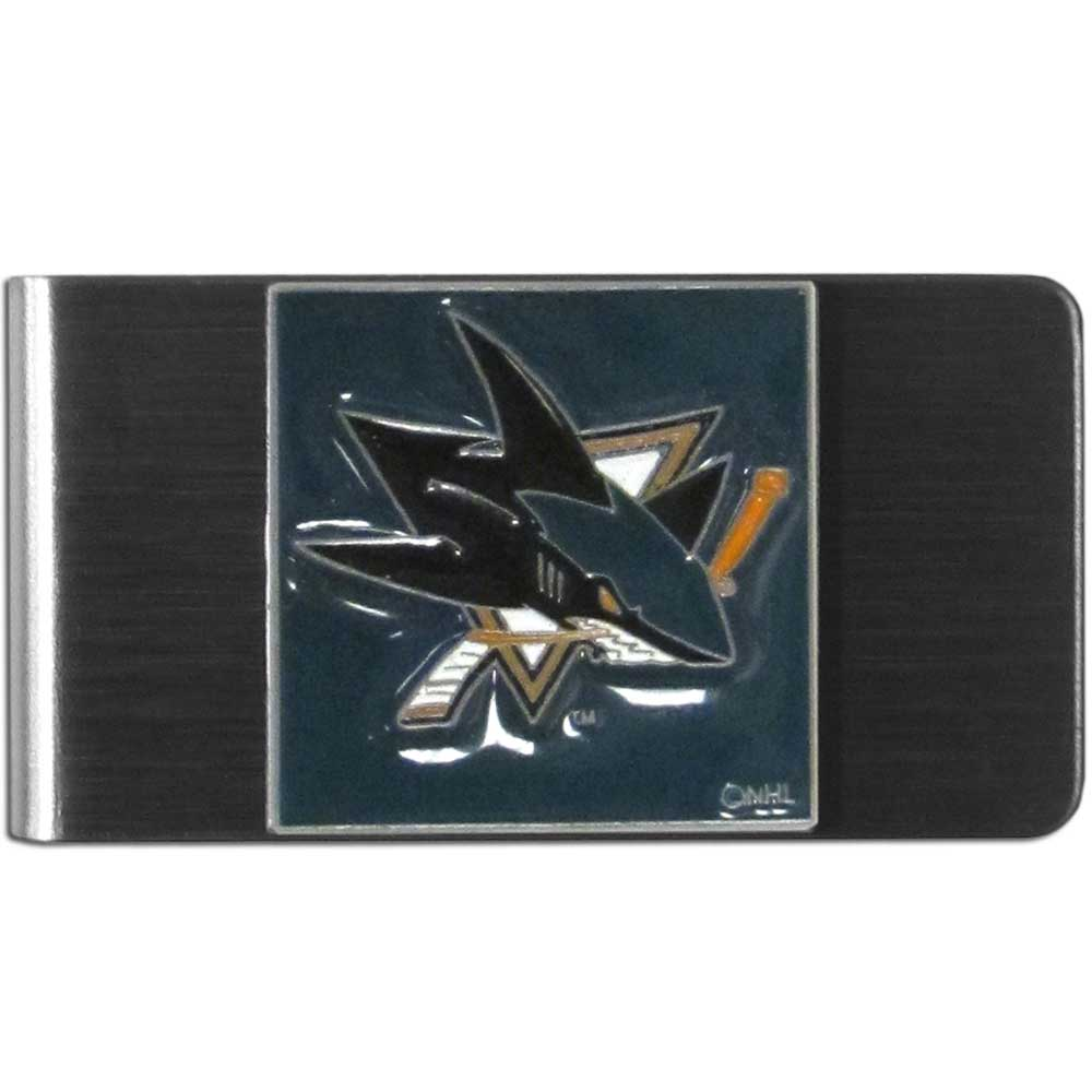 San Jose Sharks® Steel Money Clip - Our stainless steel money clip has classic style and team pride wrap up in a beautiful package. The attractive clip features a metal San Jose Sharks® emblem with expertly enameled detail