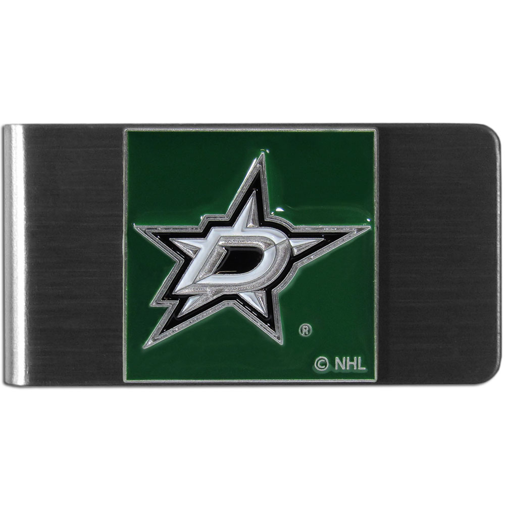 Dallas Stars™ Steel Money Clip - Our stainless steel money clip has classic style and team pride wrap up in a beautiful package. The attractive clip features a metal Dallas Stars™ emblem with expertly enameled detail